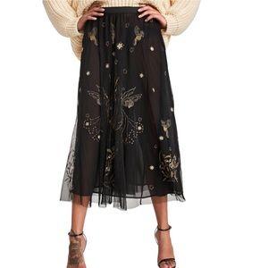 Zara Black Tulle Gold Embroidered Midi Skirt Small